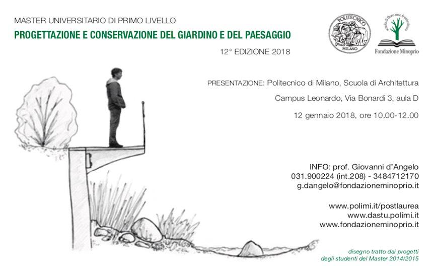 A febbraio 2018 parte il 12° Master in progettazione e conservazione del giardino e del paesaggio